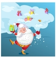 Super Santa Claus coming from sky with christmas vector image