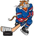 tiger sports logo mascot hockey vector image vector image