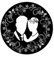 wedding silhouette with flourishes frame 3 vector image vector image
