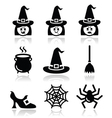 Witch Halloween icons set vector image