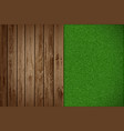 wooden table with green grass vector image vector image