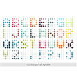 Rounded pixel art alphabet font in pastel colors vector image