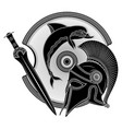 ancient hellenic helmet ancient greek shield the vector image vector image