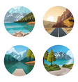 beautiful natures landscapes drawing sceneries vector image vector image