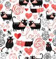 Beautiful seamless graphic pattern of funny cats vector image vector image