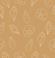 Beige seamless pattern with seashells vector image