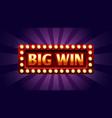 big win banner winner frame jackpot background vector image