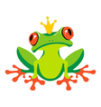 Cartoon isolated frog with crown vector image