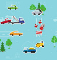 cartoon seamless pattern with cars traffic vector image