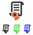 certified scroll document flat icon vector image vector image