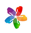 colorful group team hands logo vector image vector image