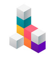 cube solution construction icon isometric style vector image