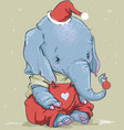 cute elephant with red ball on his trunk vector image