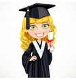 Cute girl in cap holding a scroll diploma vector image vector image