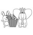 elephant and rabbit with feathers hat and basket vector image vector image
