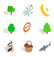 feral icons set isometric style vector image vector image