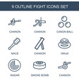 fight icons vector image vector image
