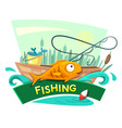 Fishing concept design vector image vector image