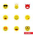 flat icon face set of wonder pouting pleasant vector image vector image
