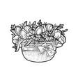 flowers in hat sketch vector image vector image
