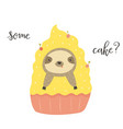funny cute sloth in cake sweet lover vector image vector image