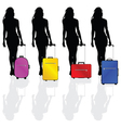girl with a suitcase vector image vector image