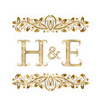 h and e vintage initials logo symbol vector image vector image