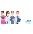 hospital team doctors nurses wear protective vector image vector image