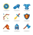 Knight weapon cartoon icons set Medieval weapons vector image vector image