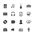 Music icons set mobile black vector image
