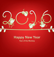 new year 2016 greeting year monkey vector image vector image