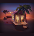 night tropical island straw hut among palm trees vector image vector image