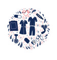 nursing kit in round shape on white background vector image