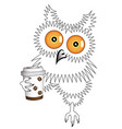 owl with a disposable coffee cup vector image vector image