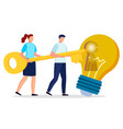 people cooperation with key and light bulb vector image