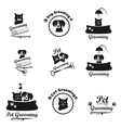 Pet grooming logo label bages black emblem vector image