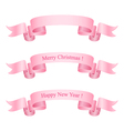 Pink Ribbons Isolated on White Background vector image vector image