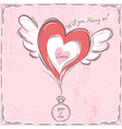 pink valentine card with heart and engagement ring vector image vector image
