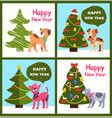 playful cartoon dogs wishes happy new year in vector image vector image