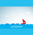 red boat leads blue boats leadership concept vector image vector image