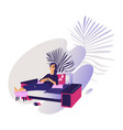 relaxed young smiling woman enjoying rest sitting vector image vector image