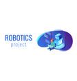 robot software isometric 3d banner header vector image vector image
