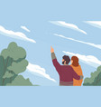 romantic couple hugging and looking at sky with vector image vector image