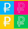 ruble sign four styles of icon on four color vector image vector image
