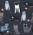 seamless pattern with different funny cats and vector image vector image
