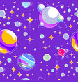 seamless space background with planets stars vector image vector image