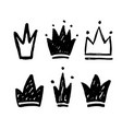 set abstract silhouettes crowns hand drawn vector image vector image
