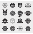 set black and white retro labels vector image vector image
