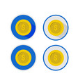 set icon coin collection on eclipse shape vector image vector image
