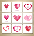 Set of artistic watercolor valentine love hearts vector image